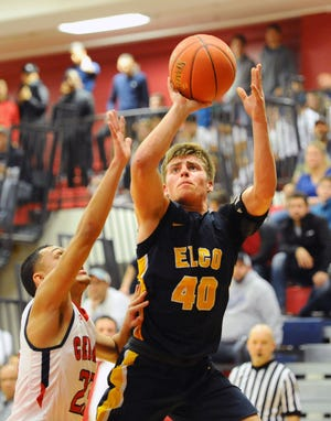 Elco's Braden Bohannon goes up for two of his 25 points in the Raiders' 56-53 win over Lebanon on Friday night. Bohannon won the game with a tiebreaking 3-pointer at the buzzer.