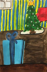 "The painting ""Christmas Tree with Gift,"" by a student from the Astor Services for Children and Families Expressive Arts Program, is featured in the Lifetime movie ""A Christmas Wish."""