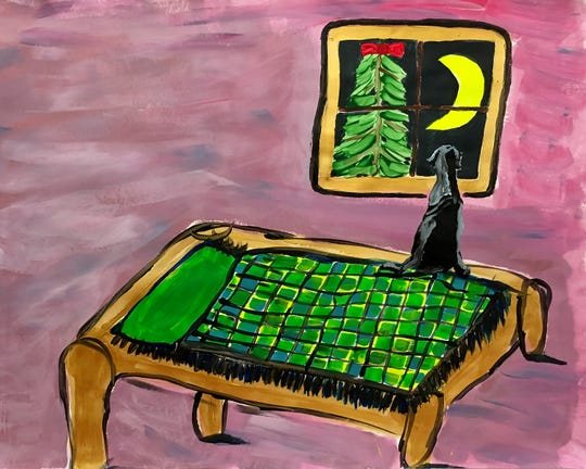 "The painting ""Dog on Bed,"" by a student from the Astor Services for Children and Families Expressive Arts Program, is featured in the Lifetime movie ""A Christmas Wish."""
