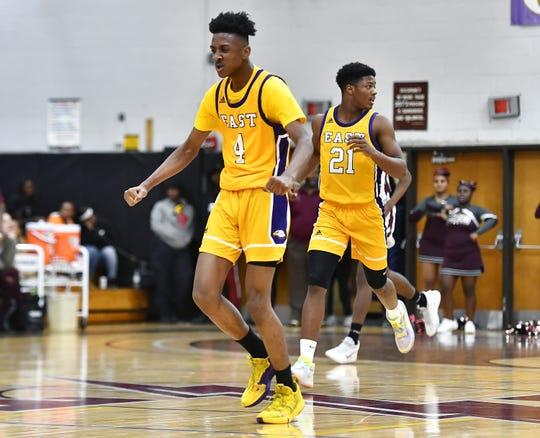 East's Zechariah Harris-Scott (4) celebrates after a basket against Edison Tech during a regular season game at Edison Career & Technology High School, Friday, Dec. 6, 2019.