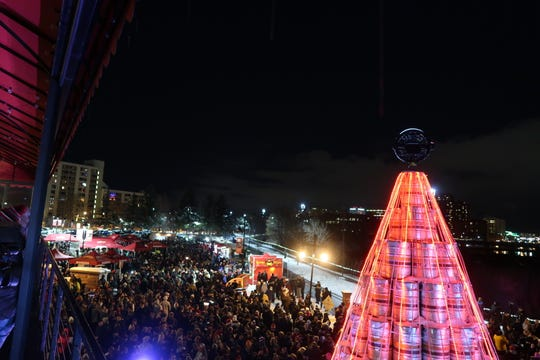 More than 7,000 people gathered in Rochester for the 2019 Genesee Brewery keg tree lighting ceremony.