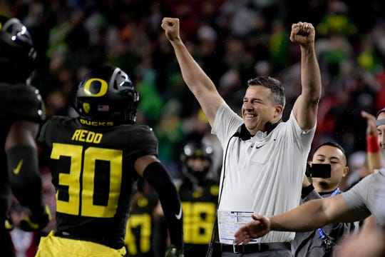 Oregon Ducks head coach Mario Cristobal reacts during the second half of the Pac-12 Conference championship game against the Utah Utes at Levi's Stadium.