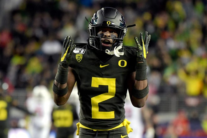 Oregon cornerback Mykael Wright, shown here during the 2019 Pac-12 championship game, is one of the players in the secondary looking to solidify a starting spot during the Ducks' scrimmage Saturday at Autzen Stadium.