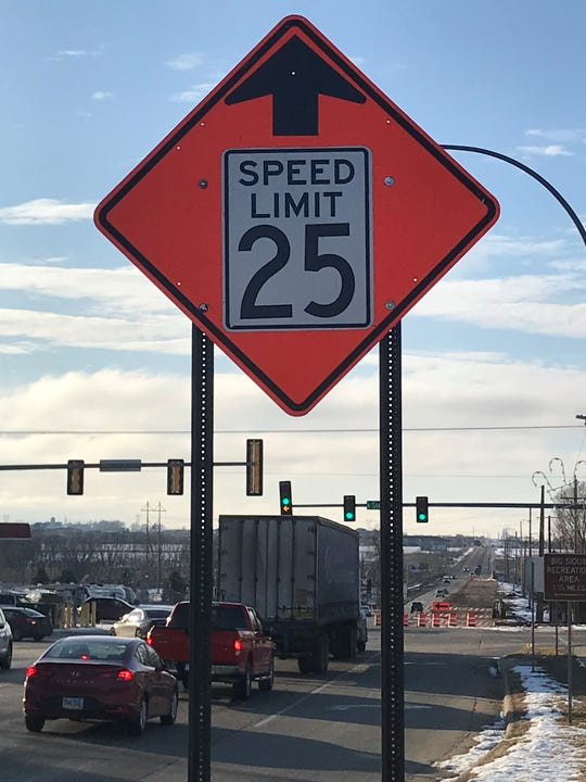 The speed limit at the Sioux and Holly boulevards will remain at 25 miles per hour until the project is completed in the spring.