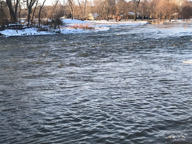 The Big Sioux River in Dell Rapids is in its banks for now, but city officials and the National Weather Service are keeping an eye on the river for potential 2020 flooding.