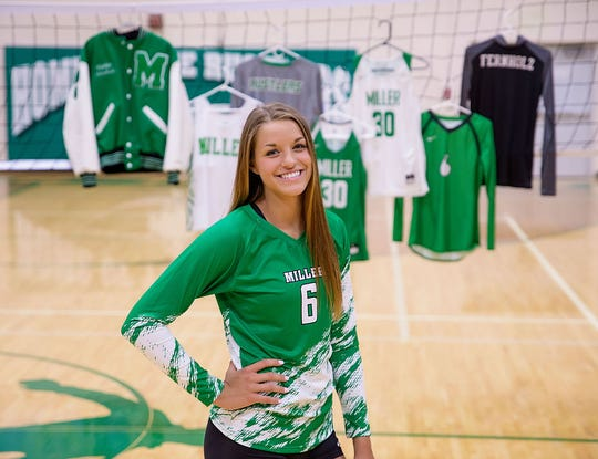 Miller middle hitter and Argus Leader Super Six Player of the Year Kadye Fernholz at the Miller High School gym. A Kansas State commit, Fernholz graduates with over 2,000 kills and over 1,000 digs.