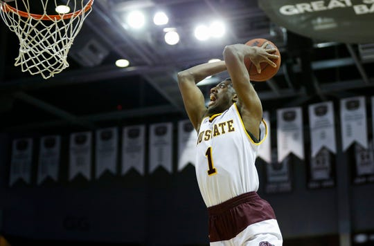 Missouri State senior Keandre Cook throws down a dunk on the Mississippi Valley State Delta Devils at JQH Arena on Friday, Dec. 6, 2019.