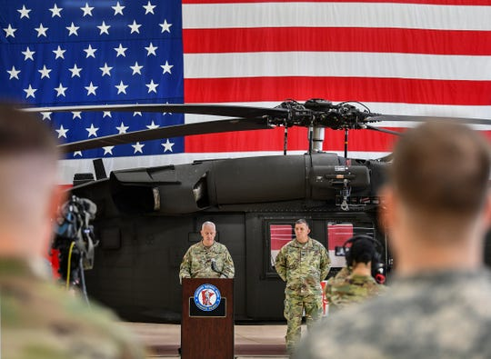 Maj. Gen. Jon Jensen speaks during a press conference Saturday, Dec. 7, 2019, at the Army Aviation Support Facility in St. Cloud.