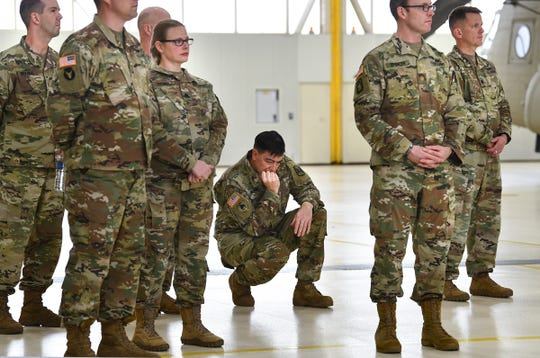 Soldiers looks on during a press conference Saturday, Dec. 7, 2019, at the Army Aviation Support Facility in St. Cloud.