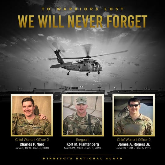 The Minnesota National Guard posted this image of the three crash victims.
