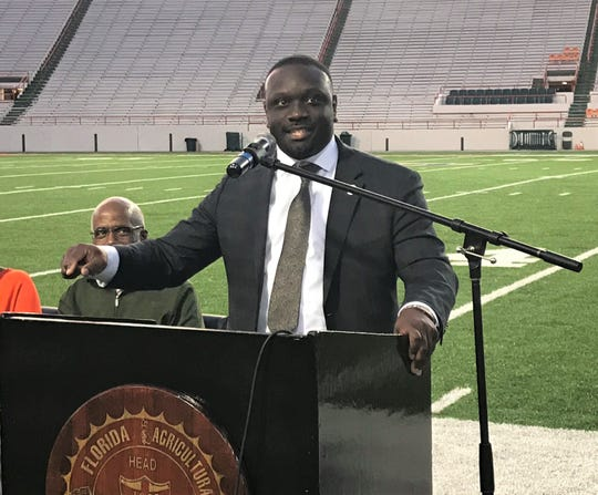 FAMU Director of Athletics Kortne Gosha gives his first public address to fans at Bragg Memorial Stadium during the year-end football celebration on Thursday, Dec. 5, 2019.