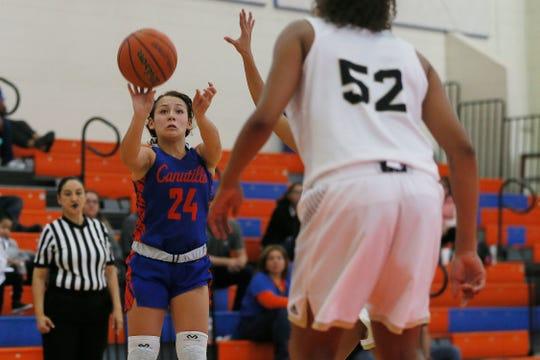 Canutillo's Alyssa Bonilla during the game against Hobbs in the tournament championship game Saturday, Dec. 7, at Canutillo High School.