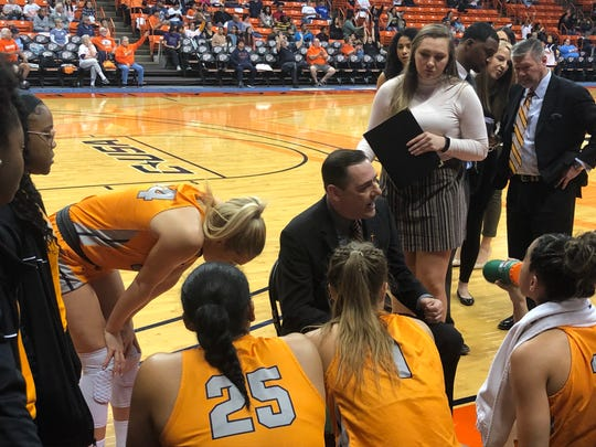 UTEP coach Kevin Baker instructs his team in the second half of Saturday's game against Arizona in the Don Haskins Center