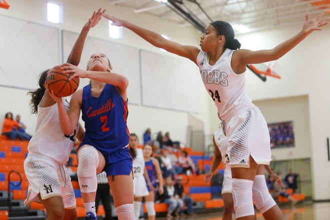 Canutillo's Sadi Clemons during the game against Hobbs in the tournament championship game Saturday, Dec. 7, at Canutillo High School.