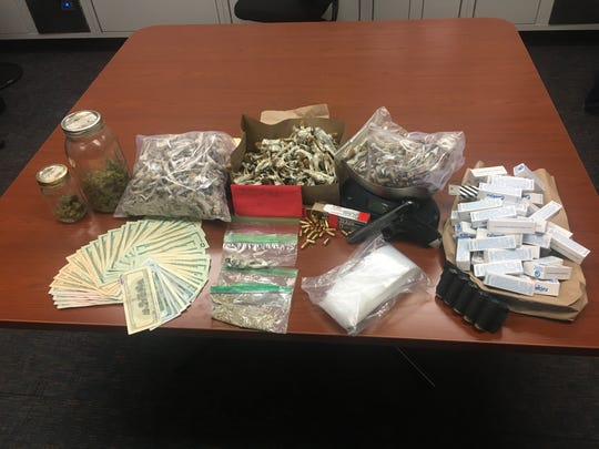 Evidence seized during a narcotics arrest of an alleged psilocybin mushroom dealer in Thousand Oaks on Thursday.