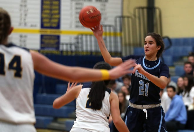 Ursuline's Sonia Citron (21) is surrounded by Lourdes defenders as she tries to drive to the basket during girls basketball action at Our Lady of Lourdes High School in Poughkeepsie Dec. 7, 2019. Ursuline won the game 51-38.