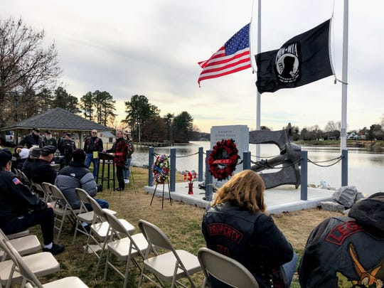 Terry Baker, chaplain of the Vietnam Vets Legacy Vets Motor Cycle Club, speaks at the Pearl Harbor Memorial in Smyrna on Dec. 7, 2019, 78 years after the attack on the U.S. base.