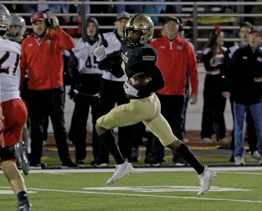 Rider's Nick Darcus returns the Lubbock Cooper kickoff 98 yards for a touchdown Friday, Dec. 6, 2019, at Bulldog Stadium in Abilene.