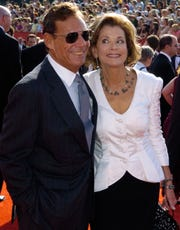 """Ron Leibman, left, with his wife Jessica Walter at the 57th Annual Primetime Emmy Awards in Los Angeles. Leibman, who appeared in movies, theater and television in a career that spanned six decades and won a Tony for Tony Kushner's iconic play """"Angels in America,"""" died Dec. 6. He played Rachel Green's father, Dr. Leonard Green, on """"Friends."""""""