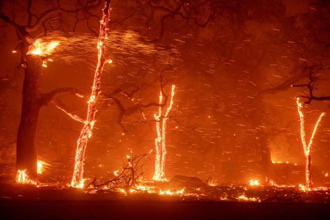 In this file photo taken on Nov. 8, 2018, embers fly as wind and flames from the Camp Fire tear through Paradise, California.