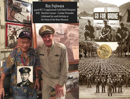 Congressional Gold Medal recipient Roy Fujiwara celebrates his birthday at Home of the Brave with museum owner Glenn Tomlinson.