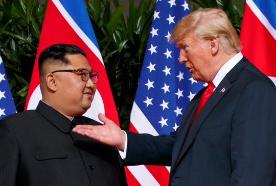 President Donald Trump and North Korean leader Kim Jong Un at a 2018 summit in Singapore.