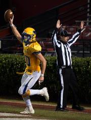 Wren's Harrison Morgan (20) celebrates his interception during the Class AAAA state championship at Williams-Brice Stadium in Columbia Saturday, Dec. 7, 2019.