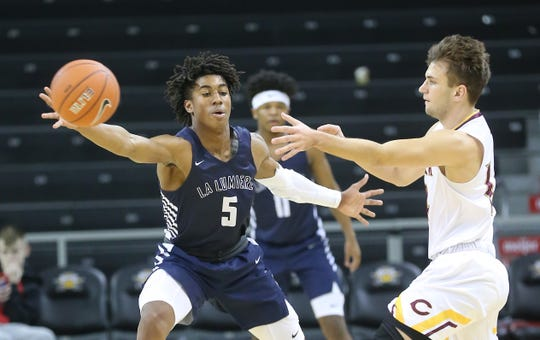 La Lumiere School guard Jaden Ivey (5) defends during their basketball game against Cooper during the Griffin Elite Prep School Classic, Saturday, Dec. 7, 2019.