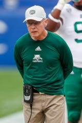 Ohio head coach Frank Solich works the sideline as his team plays against Pittsburgh in an NCAA college football game, Saturday, Sept. 7, 2019, in Pittsburgh.