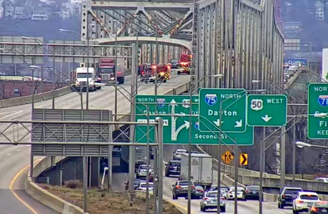 The Brent Spence Bridge is being cleared due to a crash.