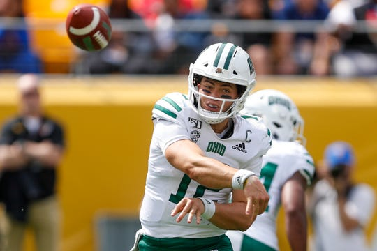 Ohio quarterback Nathan Rourke (12) plays against Pittsburgh in an NCAA college football game, Saturday, Sept. 7, 2019, in Pittsburgh.