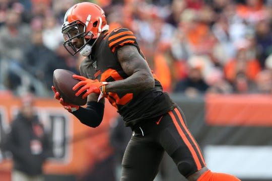 Cleveland Browns wide receiver Jarvis Landry (80) catches a pass in the first quarter during a Week 14 NFL football game against the Cincinnati Bengals, Sunday, Dec. 8, 2019, at FirstEnergy Stadium in Cleveland.