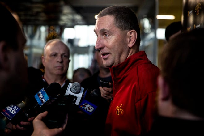 Iowa State Athletics Director Jamie Pollard talks to the press after learning the Cyclones will play in the Camping World Bowl, on Sunday Dec. 8, 2019, on the Iowa State campus in Ames.