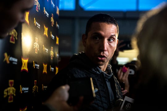 Iowa State Head Football Coach Matt Campbell talks to the press after learning the Cyclones will play in the Camping World Bowl, on Sunday Dec. 8, 2019, on the Iowa State campus in Ames.