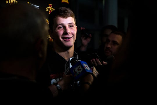 Iowa State Quarterback Brock Purdy talks to the press after learning the Cyclones will play in the Camping World Bowl, on Sunday Dec. 8, 2019, on the Iowa State campus in Ames.
