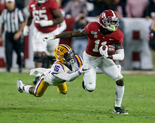Alabama receiver Henry Ruggs III. 2019 stats: 38 catches for 719 yards and seven TDs.
