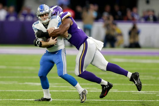 Detroit Lions quarterback David Blough is sacked by Minnesota Vikings defensive end Danielle Hunter during the first half Sunday, Dec. 8, 2019, in Minneapolis.