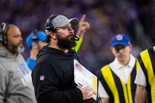 Detroit Lions coach Matt Patricia in the fourth quarter against Minnesota Vikings, Sunday, Dec. 8, 2019, in Minneapolis.