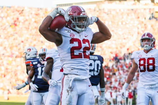 Alabama running back Najee Harris. 2019 stats: 185 carries for 1088 yards, 11 TDs; 27 catches for 304 yards and seven TDs.