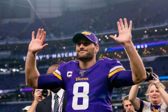 Minnesota Vikings quarterback Kirk Cousins celebrates after defeating the Detroit Lions, 20-7, Sunday, Dec. 8, 2019, in Minneapolis.