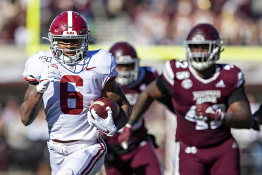 Alabama receiver DeVonta Smith. 2019 stats: 65 catches for 1200 yards and 13 TDs.