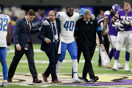 Detroit Lions middle linebacker Jarrad Davis (40) has been placed on injured reserved after injuring his ankle in last week's loss against the Vikings.