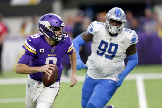 The Lions could only muster one hit on Vikings quarterback Kirk Cousins on Sunday.