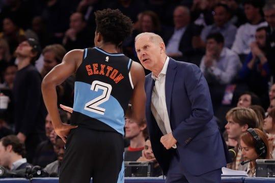 Cavaliers coach John Beilein talks to Collin Sexton (2) during a game last month.