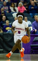 Evansville's Shamar Givance (5) moves up the court at the UE vs Miami University game at the Ford Center in Evansville, Saturday, Dec. 7, 2019.