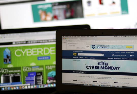 SAN ANSELMO, CA - NOVEMBER 27:  In this photo illustration, an ad seen on the Best Buy website for a Cyber Monday sale is displayed on laptop computers on November 27, 2017 in San Anselmo, California. Cyber Monday will likely be the biggest shopping day in U.S. e-commerce history with an expected $6.6 billion in sales.  (Photo Illustration by Justin Sullivan/Getty Images)