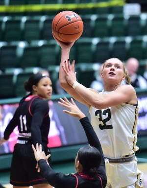 Colorado State women's basketball player Annie Brady shoots a layup in a win over Incarnate Word on Nov. 26, 2019, at Moby Arena. The Rams lost 72-69 at home Sunday to Boise State.