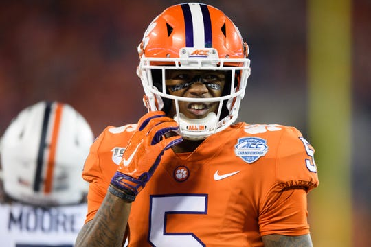 Clemson wide receiver Tee Higgins (5) during the ACC Championship game at the Bank of America Stadium Saturday, Dec. 7, 2019.