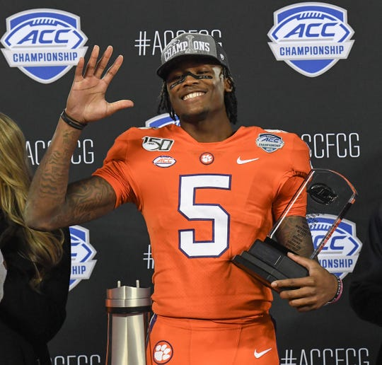Clemson wide receiver Tee Higgins (5), MVP, waves after a 62-17 win over the Virginia Cavaliers after the ACC Championship game Saturday, Dec. 7, 2019.
