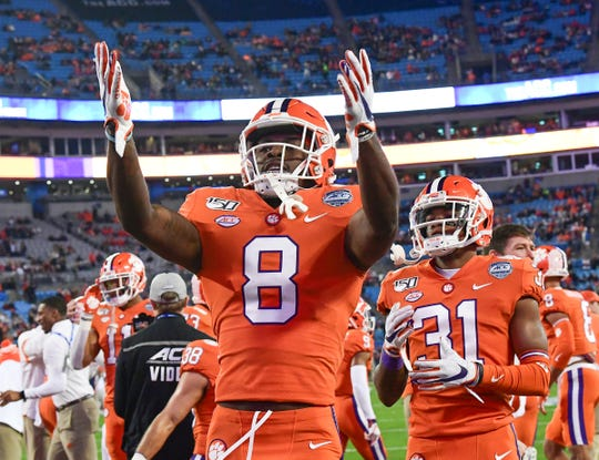 Clemson wide receiver Justyn Ross (8) waves to fans before the ACC Championship game Saturday, Dec. 7, 2019.